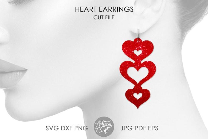 Earring SVG heart earringsValentines Day heart shaped image 1