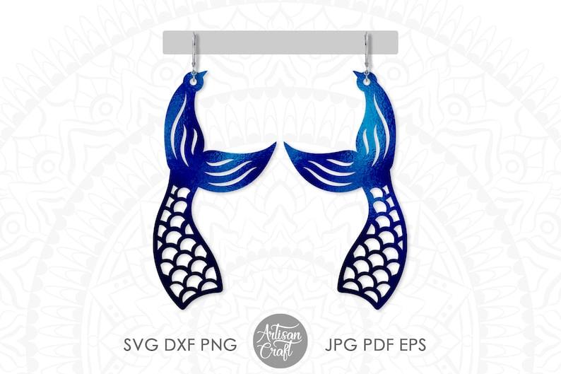 Mermaid tail earrings svg Mermaid Earring svg jewelry cut image 1
