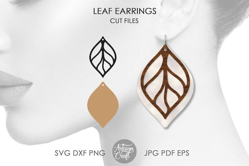 Stacked earring svg leaf earring cut files teardrop image 1