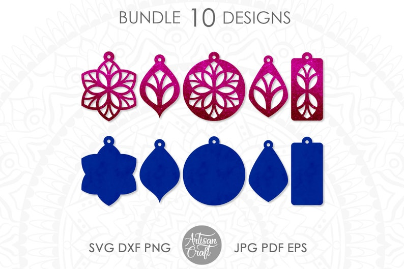 Earring template SVG Floral earrings svg vinyl leather image 1