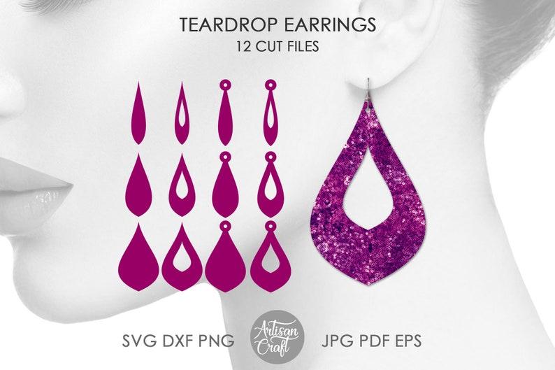 Teardrop earring SVG bundle earring template cutting files image 1