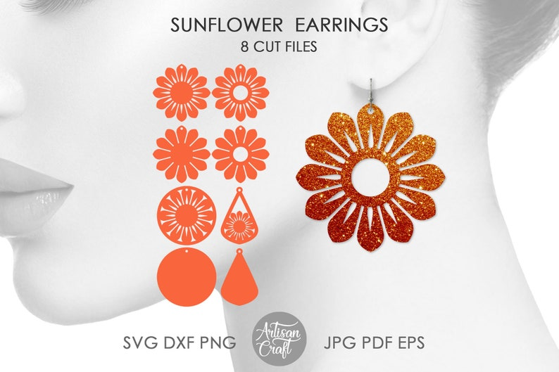 Sunflower Earring Template SVG for making Faux Leather image 1
