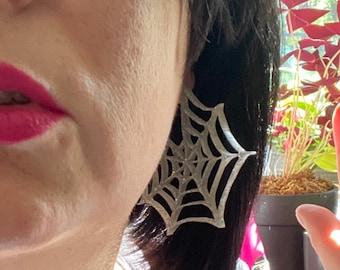 Sparkly Spiderweb Laser Cut Statement Earrings / Spooky Season / Halloween / Lightweight