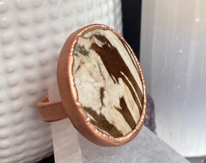 Zebra Jasper & Copper Statement Ring / One Of A Kind / Ring Size 5