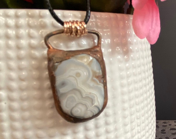 Copper and Crazy Lace Agate Pendant / One of A Kind / Statement Jewelry