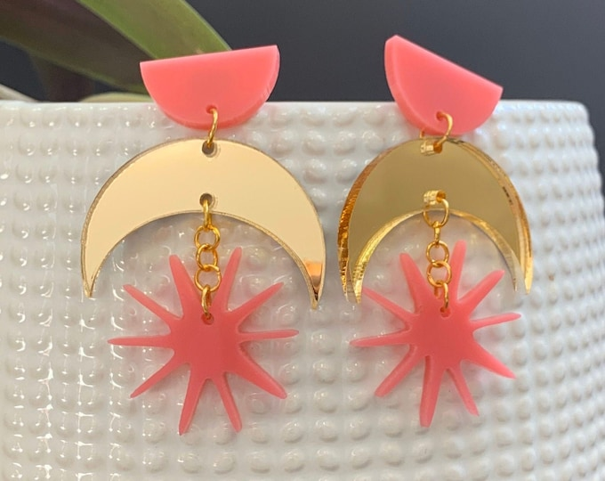 Moon and Star Acrylic Statement Earrings / Geometric Earrings/ Pink & Gold Earrings/ Drop Earrings / Handmade / Lightweight / Nickel Free