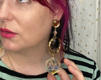 Lightweight Long Sacred Geometry Gemstone Dangle Earrings / Witchy / Magical / Style Mimosa