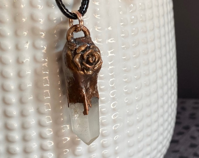 Simple Quartz Point with Rose and Copper Necklace / One of A Kind