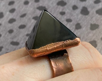 Obsidian and Copper Pyramid Statement Ring / Band size 11
