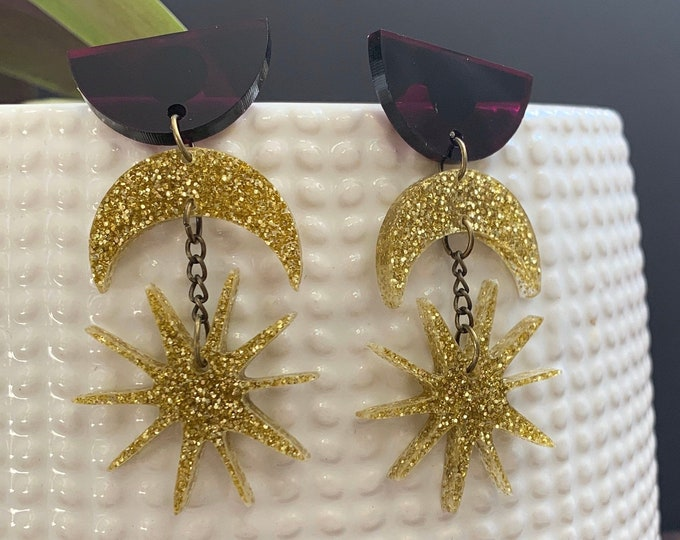 Moon and Star Acrylic Statement Earrings / Geometric Earrings/ Gold Earrings/ Drop Earrings / Handmade / Lightweight / Nickel Free