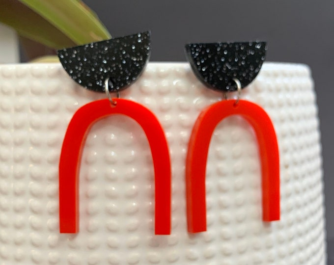 Unique Geometric Shape Acrylic Statement Earrings / Drop Earrings / Handmade / Lightweight / Nickel Free