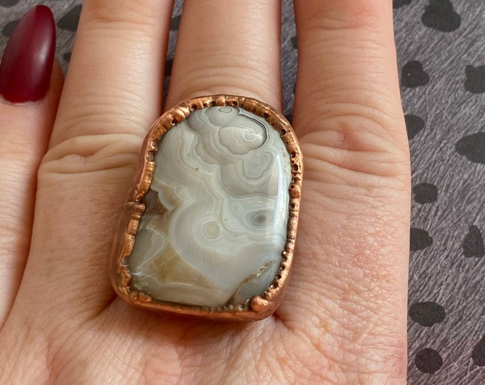 Beautiful Crazy Lace Agate and Copper Wide Band Ring / Size 9