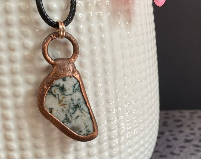 Moss Agate & Copper Necklace / One Of A Kind / Great Gift Idea