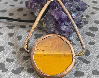 Copper Electro-formed pendant / Mookaite / Handmade / One of A Kind / Unique / Statement Jewelry