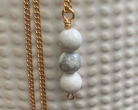 Minimalist Natural Stone Necklace / Great for Layering / White Howlite & Rose Gold
