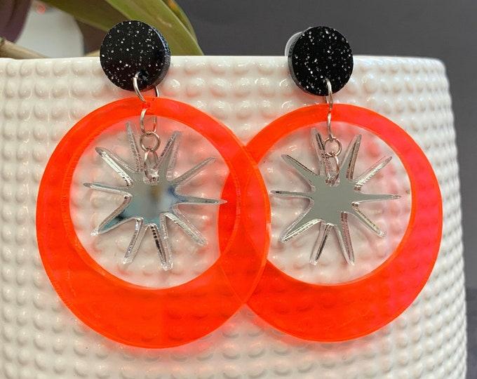 Geometric Star Acrylic Statement Earrings /  Silver Earrings/ Drop Earrings / Handmade / Lightweight / Nickel Free