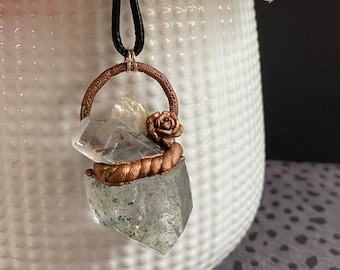 Copper and Quartz Chunky Pendant Necklace / Handmade / One Of A Kind