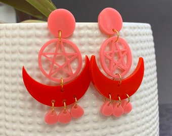 Moon & Pentacle Acrylic Statement Earrings / Geometric Earrings/ Pink and Red Earrings/ Drop Earrings / Handmade / Lightweight / Nickel Free