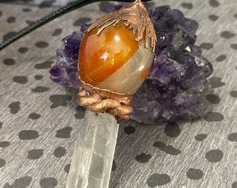 Unique Agate, Quartz, and Copper Pendant / One of A Kind / Great Gift Idea