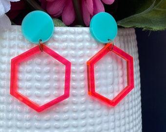 Laser Cut Geometric Statement Earrings / Hexagon / Lightweight / Modern / 9 Color Variations