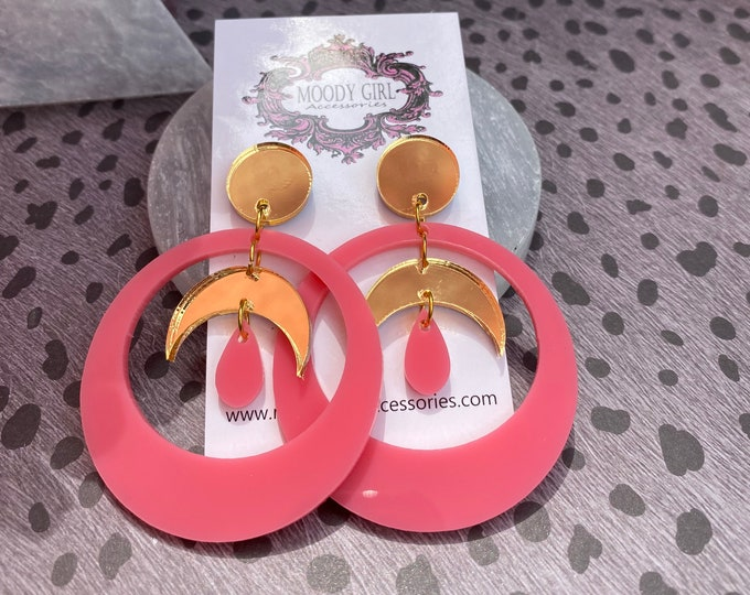 Sun and Moon Pink And Gold Acrylic Earrings/ Lightweight / Statement Earrings