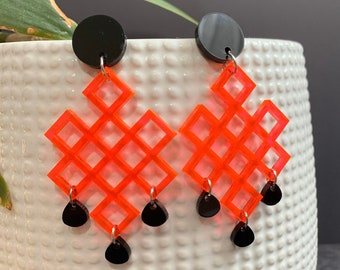 Geometric Acrylic Statement Earrings / Available in 4 Colors / Drop Earrings / Handmade / Lightweight / Nickel Free