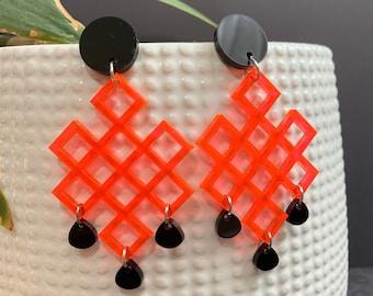 Geometric Acrylic Statement Earrings / Available in 4 Colors / Drop Earrings / Handmade / Lightweight / Nickel Free