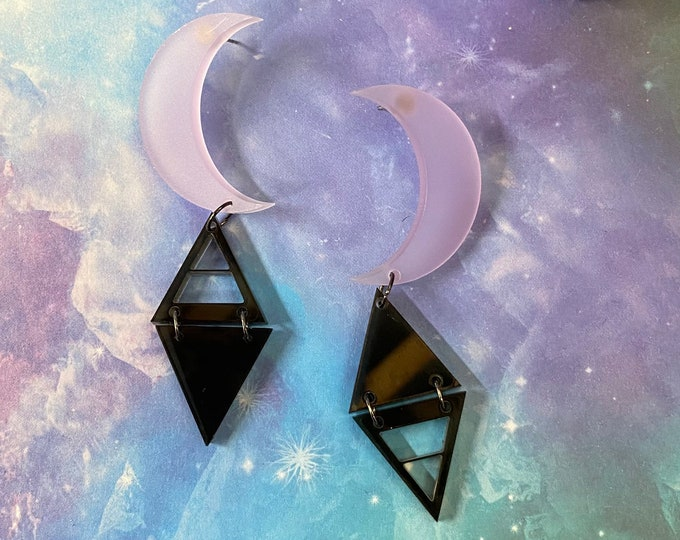 Elements Laser Cut Statement Earrings / Witchy Earrings / Celestial Jewelry / Lightweight