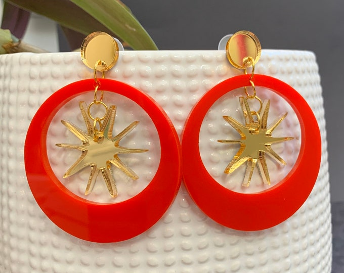Moon & Stars Acrylic Statement Earrings / Geometric Earrings/ Gold Earrings/ Drop Earrings / Handmade / Lightweight / Nickel Free