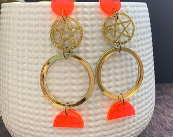 Moon & Pentacle Acrylic Statement Earrings / Geometric Earrings/ Gold Earrings/ Drop Earrings / Handmade / Lightweight / Nickel Free