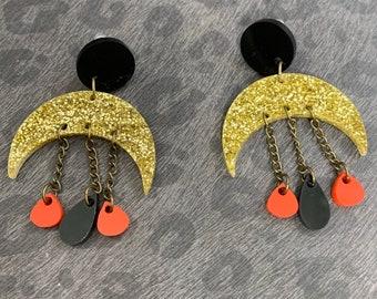 Moon Shape Acrylic Statement Earrings / Geometric Earrings/ Drop Earrings / Handmade / Lightweight / Nickel Free