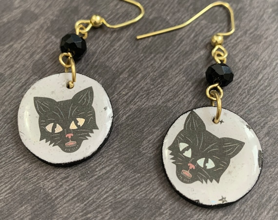 Mixed Media Black Cat Earrings