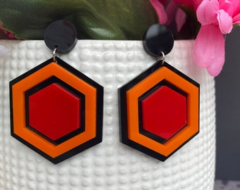 Overlook Earrings / Available in 2 sizes / Lightweight Acrylic / Handmade / Horror Movie Fans!