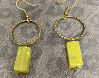 Serpentine Jade Geometric Earrings