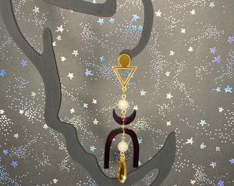 Lightweight Geometric Gemstone Dangle Earrings / Style Mirfak