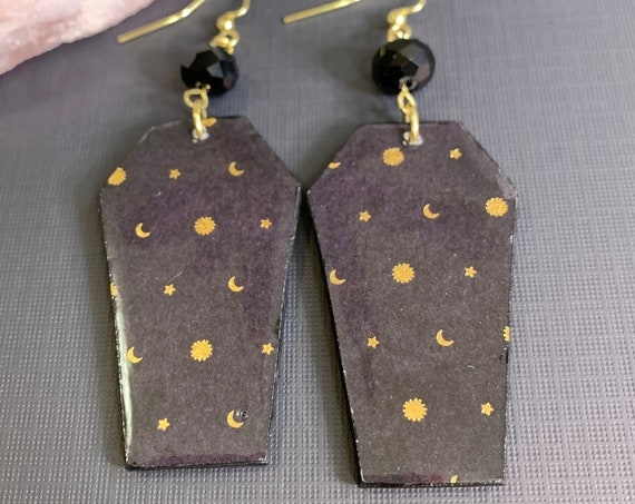 Mixed Media Coffin Shape Celestial Earrings | Goth Girl | Witchy Vibes | Lightweight | Halloween