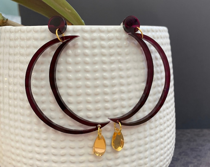 Crescent Moon Cut Out Acrylic Statement Earrings / Geometric Earrings/ Drop Earrings / Handmade / Lightweight / Nickel Free