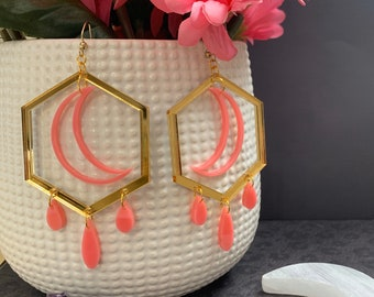 9 Color Ways! Laser Cut Statement Earrings / Bright Stars Collection style Sabik / Lightweight / Unique / Great Gift Item