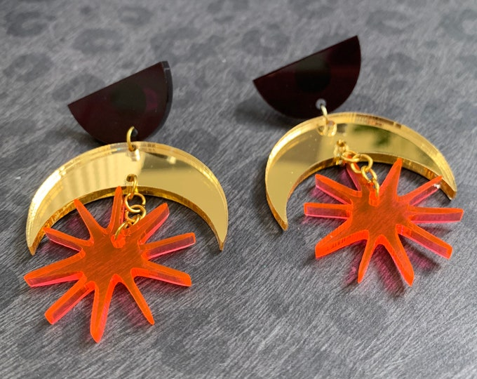Moon and Stars Shape Acrylic Statement Earrings / Geometric Earrings/ Dangle and Drop Earrings / Handmade / Lightweight / Nickel Free