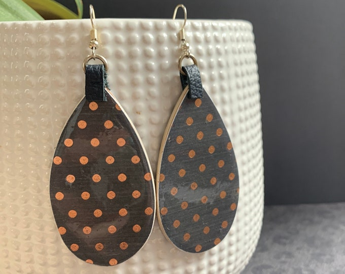 Mixed Media Navy Blue and Rose Gold Earrings / Large Tear Drop Earrings / Unique / One Of A Kind
