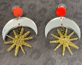 Moon Shape Acrylic Statement Earrings / Geometric Earrings/ Moon and Stars / Drop and Dangle Earrings / Handmade / Lightweight / Nickel Free