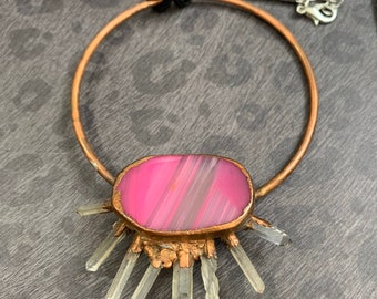 Agate and Quartz  Copper Electro-formed Statement Pendant