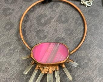 Agate and Quartz  Copper Electro-formed Statement Pendant