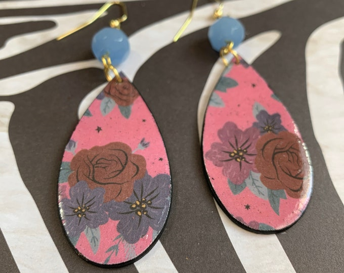Cute Pink and Floral Mixed Media Earrings / Handmade / Lightweight / One of A Kind