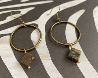 Antique Gold Hoop Earrings with Yellow Turquoise Cube Beads