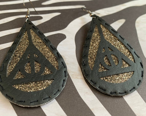 Harry Potter Deathly Hallows Earrings / Vegan Leather / Hand stitched