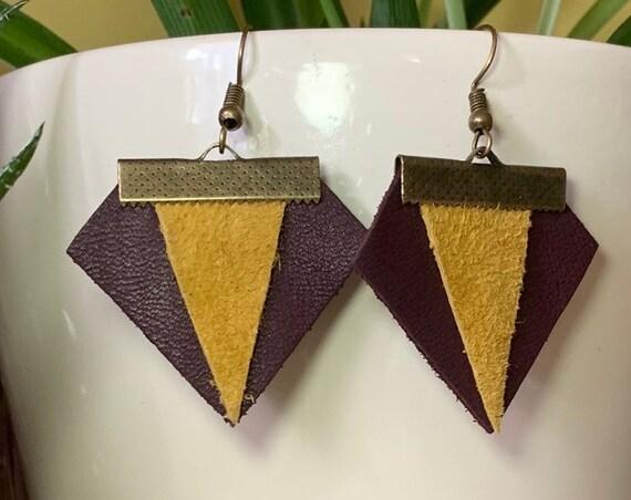 Unique Geometric Leather Earrings | Statement | Handmade