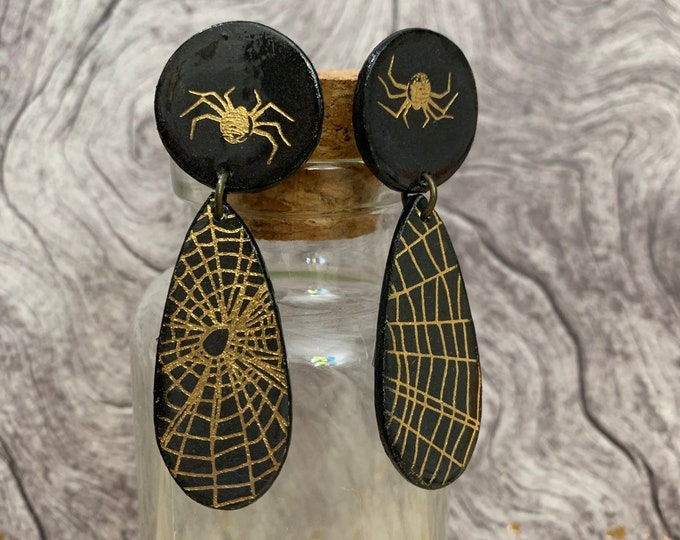 Spider and Web Earrings | Handmade | Unique | One Of A Kind | Perfect For Halloween