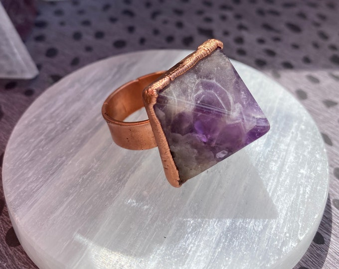 Amethyst Pyramid Copper Ring / Statement Ring / Metaphysical Jewelry / Large Gemstone Ring / Size 10