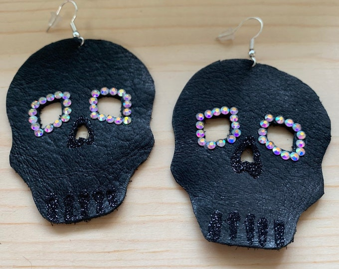 Handmade Large Leather Skull Statement Earrings | Perfect for Halloween | Lightweight | Cosplay | Withcy and Goth